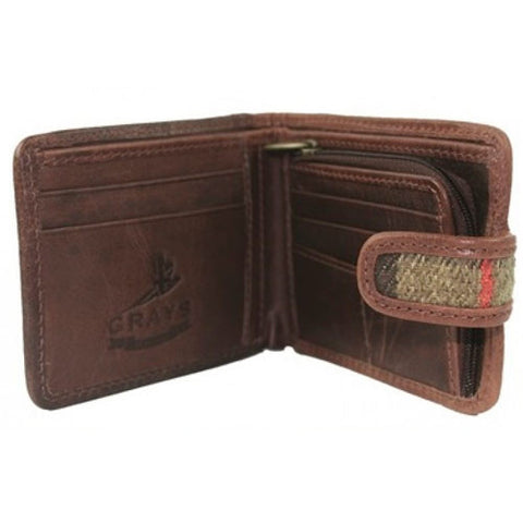 Mens Shenton Leather and Tweed Wallet - All Horsey Gifts - 2