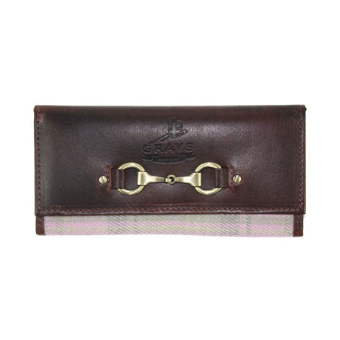 Brown Leather & Lilac Tweed Horse Snaffle Bit Purse