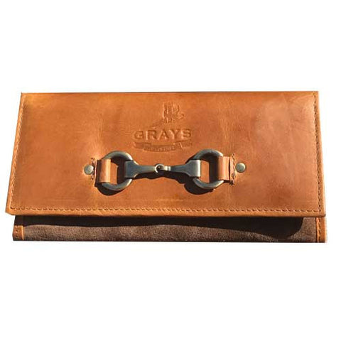 Tan Leather and Suede Horse Snaffle Bit Purse