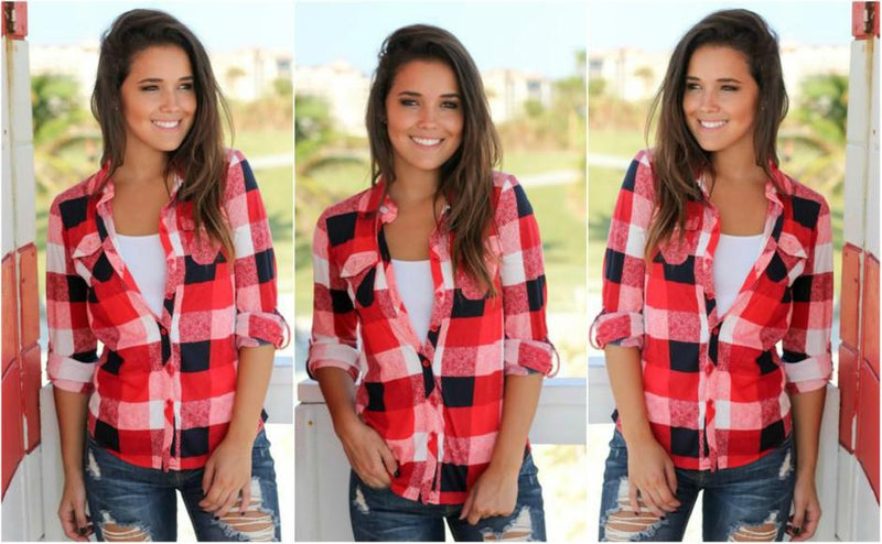 Red & Black Plaid Top