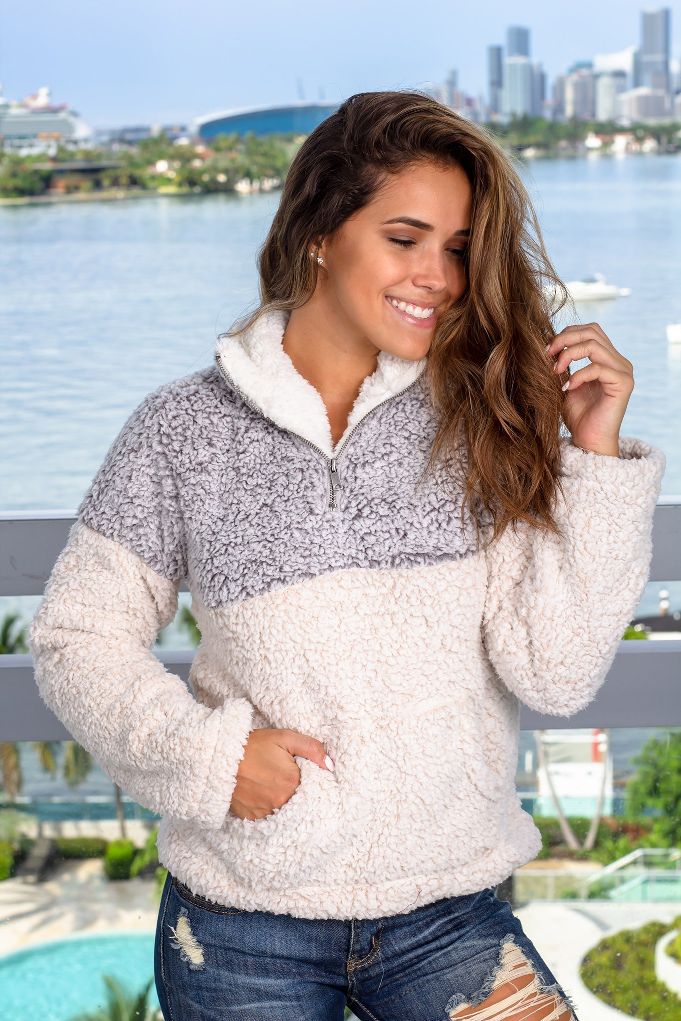 Gray Pullover with Pockets