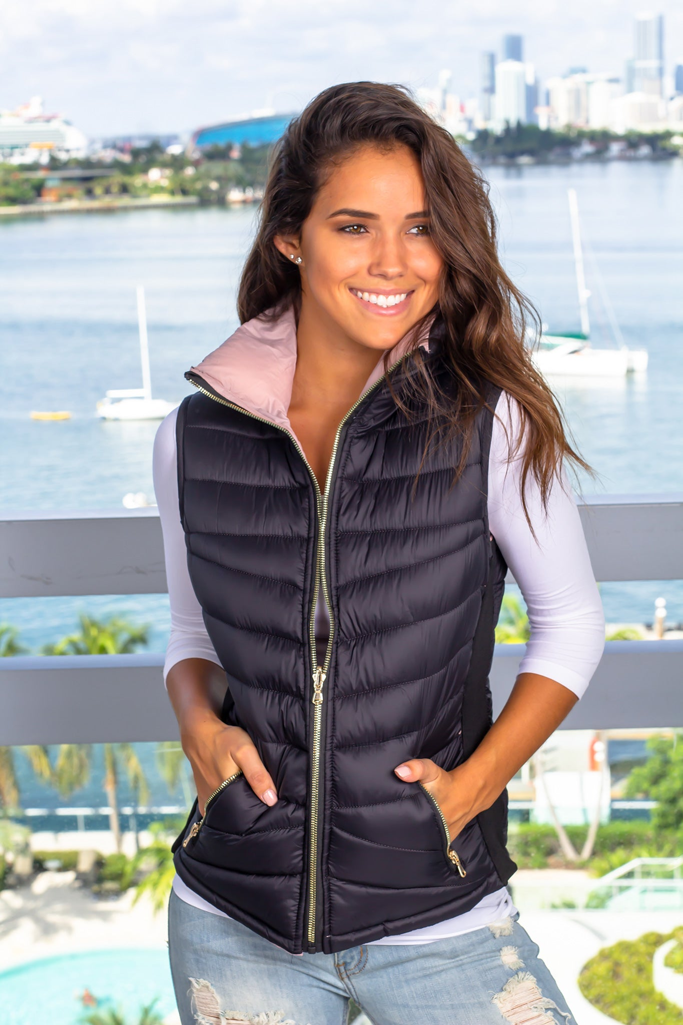 Black and Mauve Reversible Puffer Vest