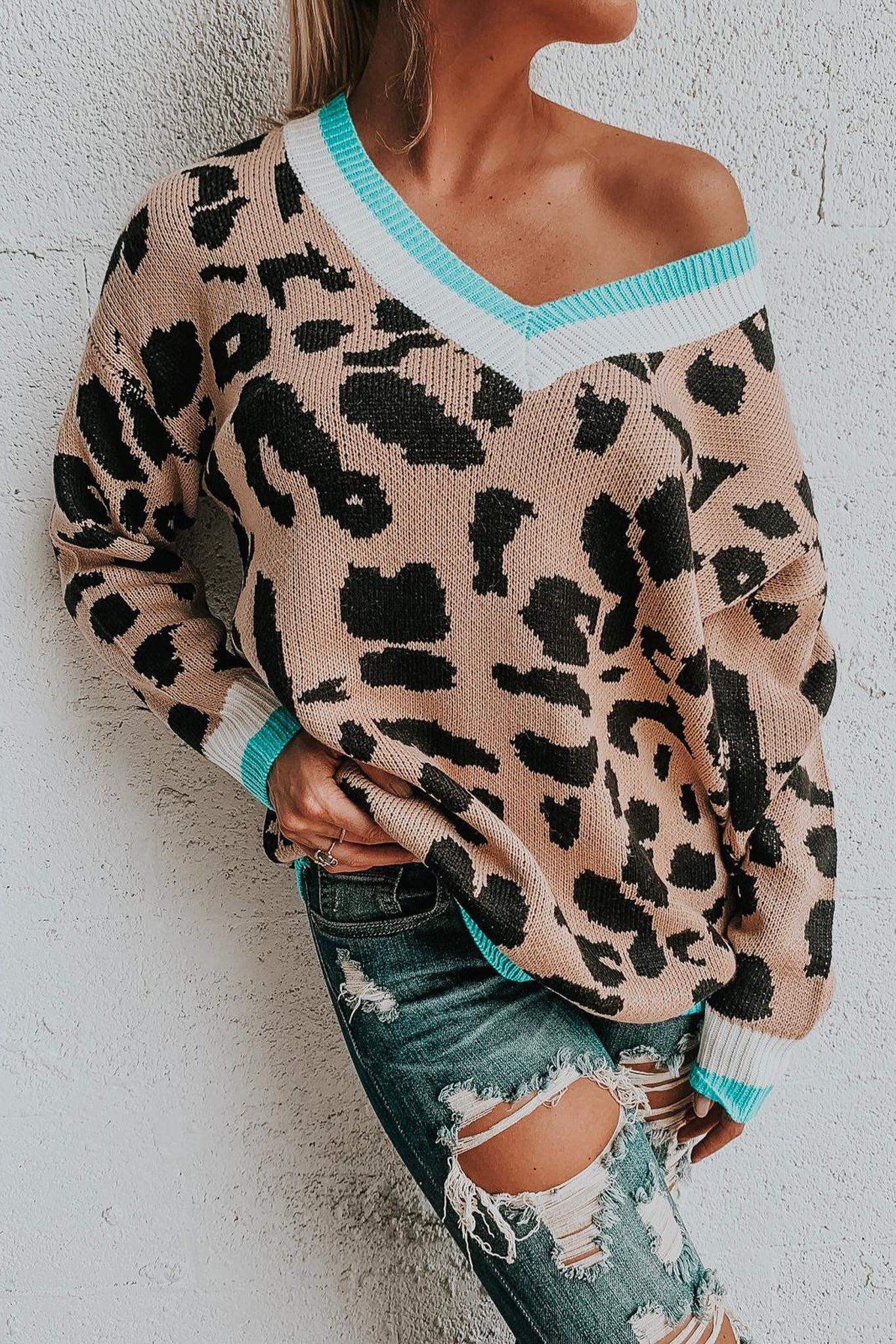Leopard Printed Oversized Sweater