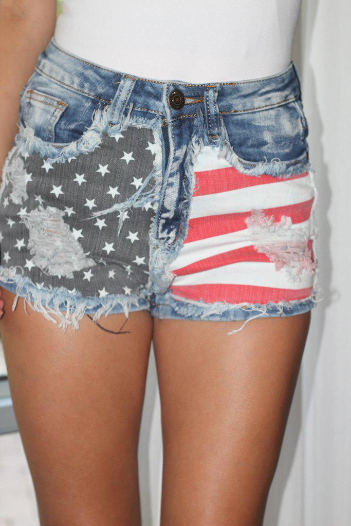 Distressed American Flag Shorts