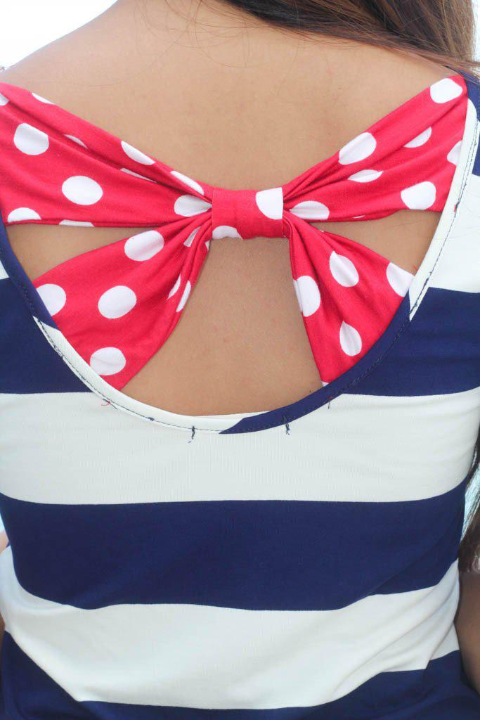 Navy Striped Top with Back Bow