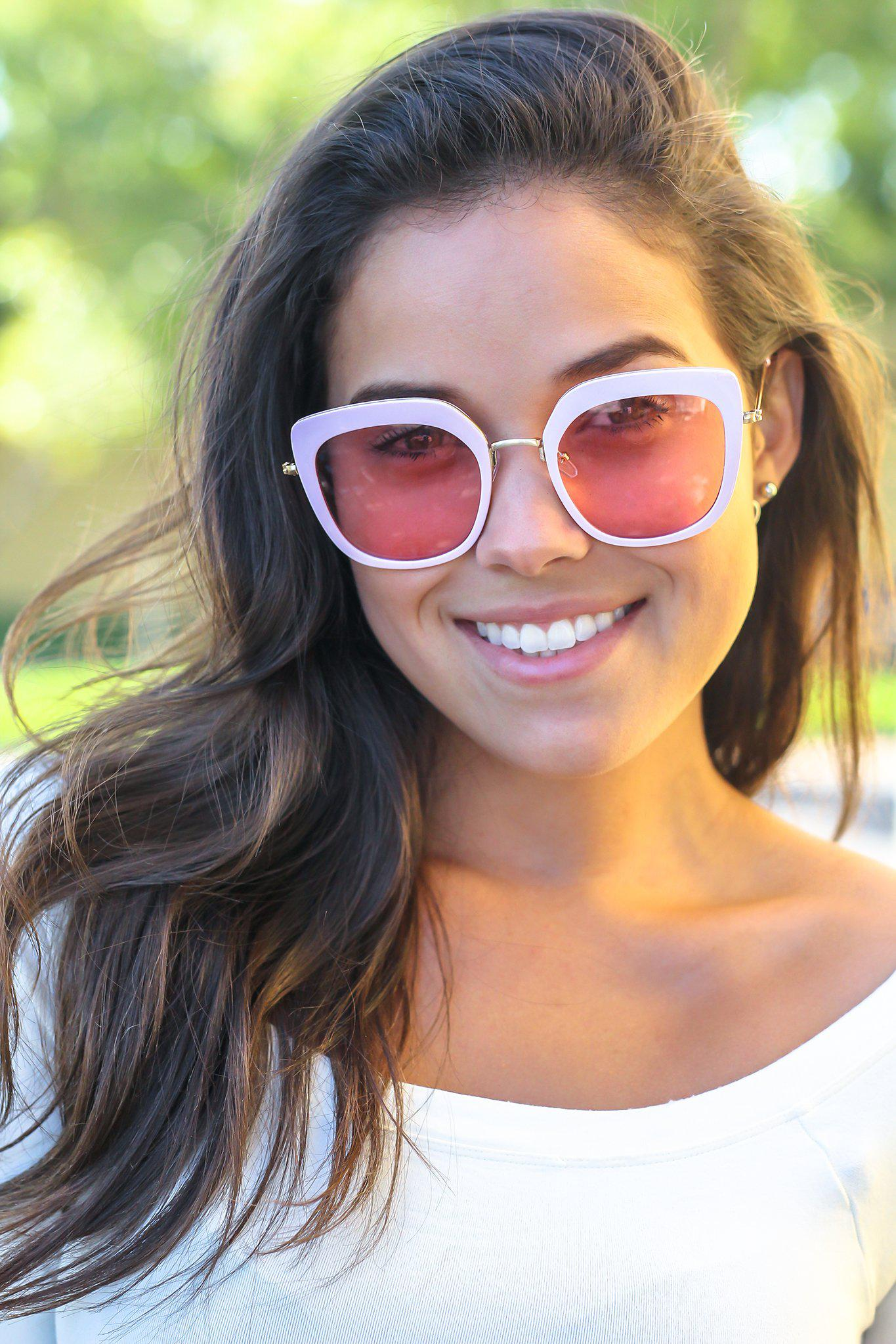 Light Pink Retro Frame Sunglasses