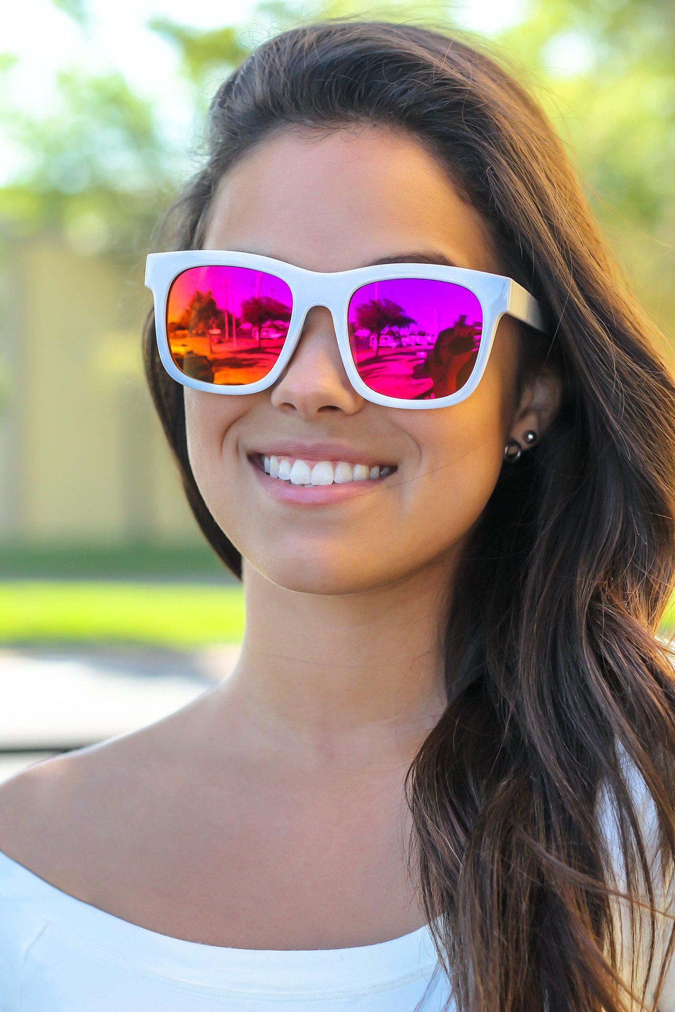 White Sunglasses with Orange Lenses