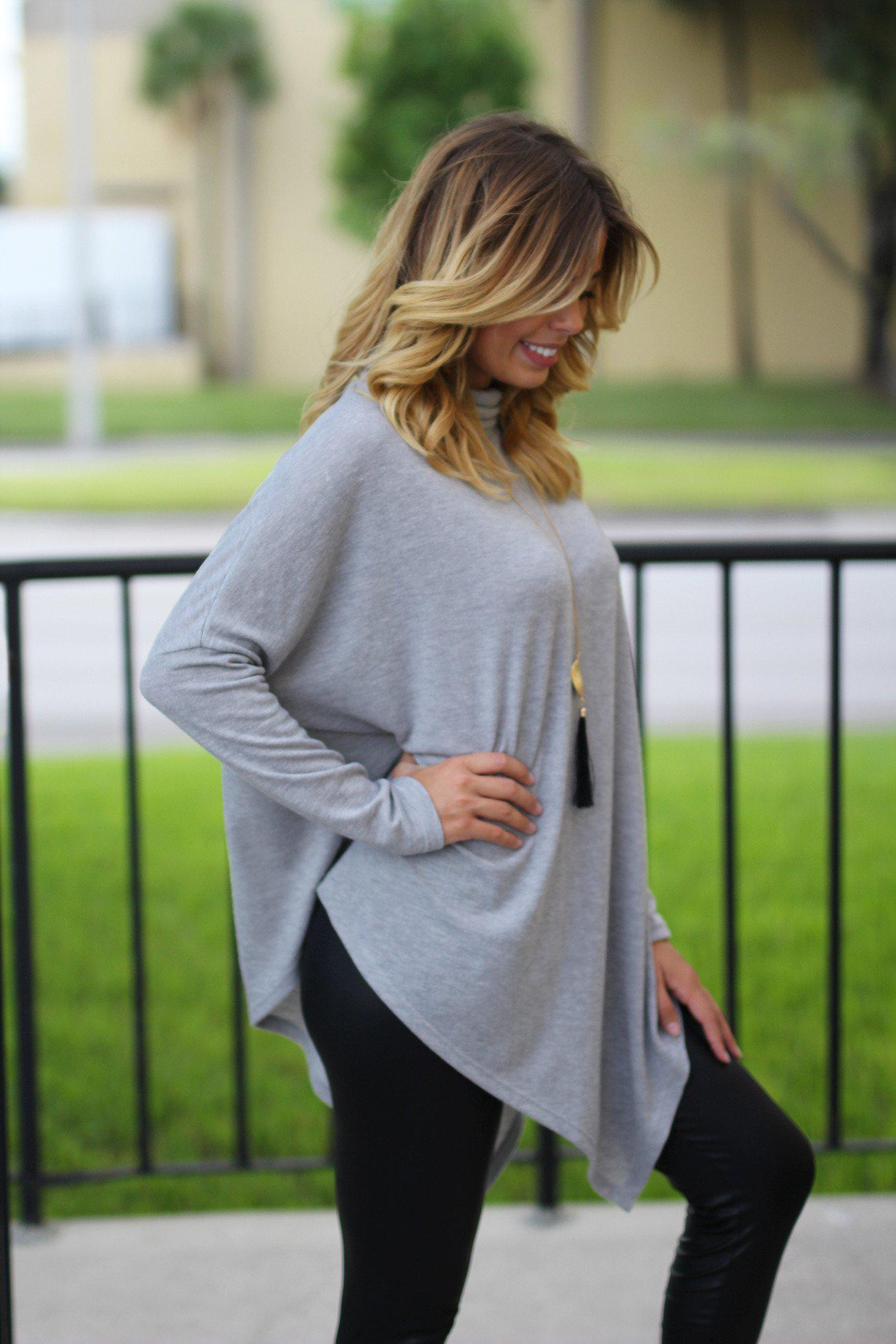 Gray Asymmetrical Top