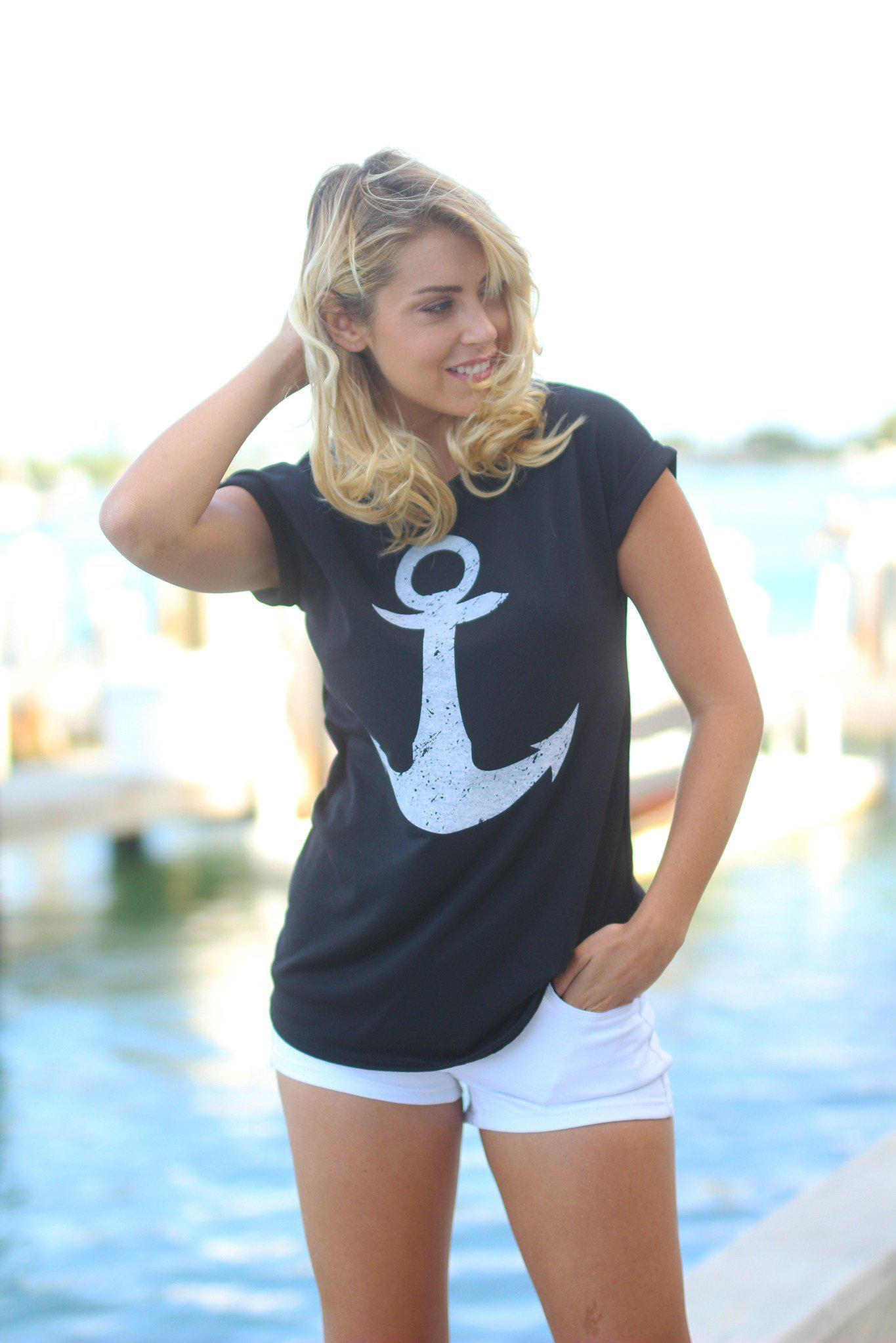 Black Anchor Tee
