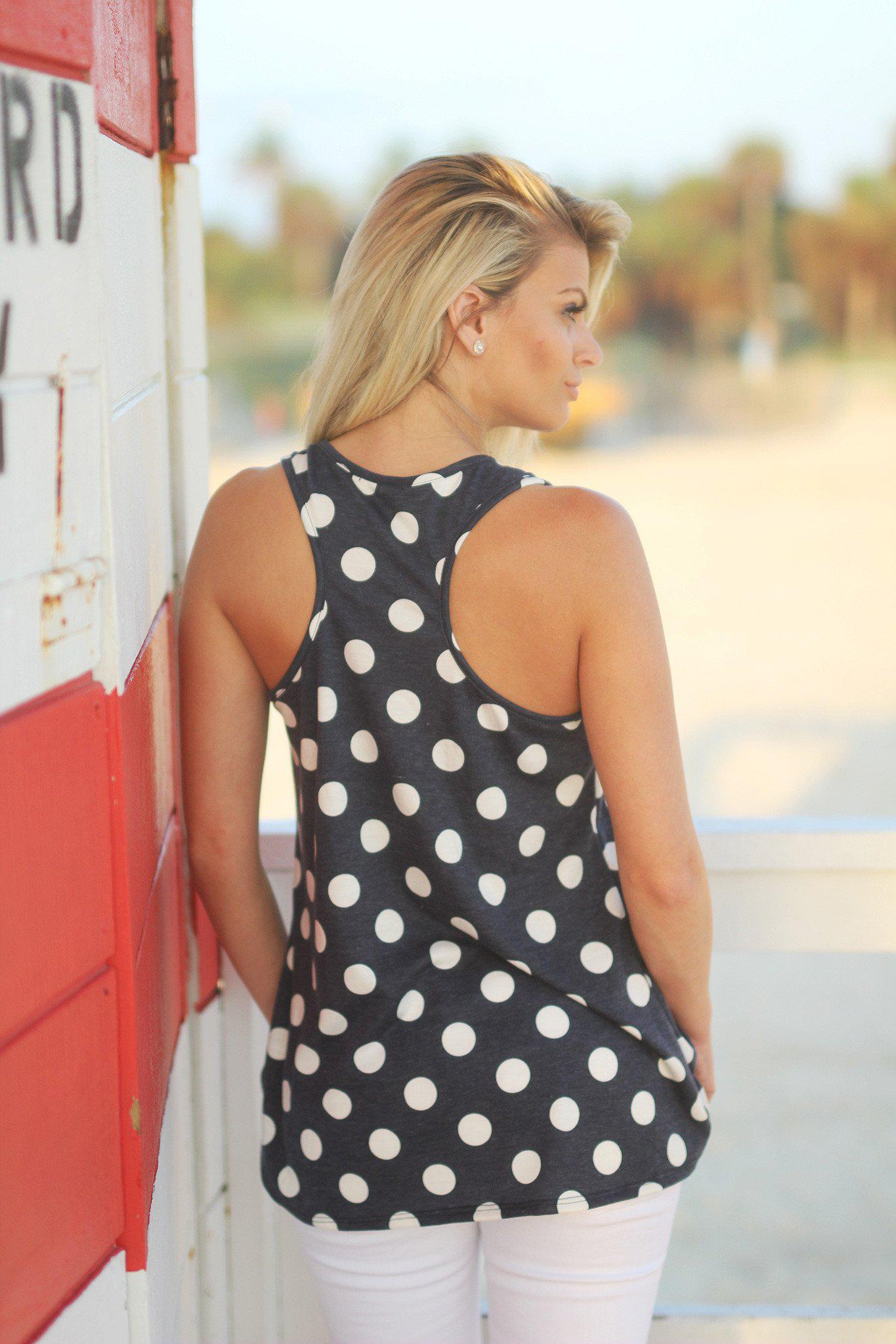 Navy Polka Dot Anchor Tank Top