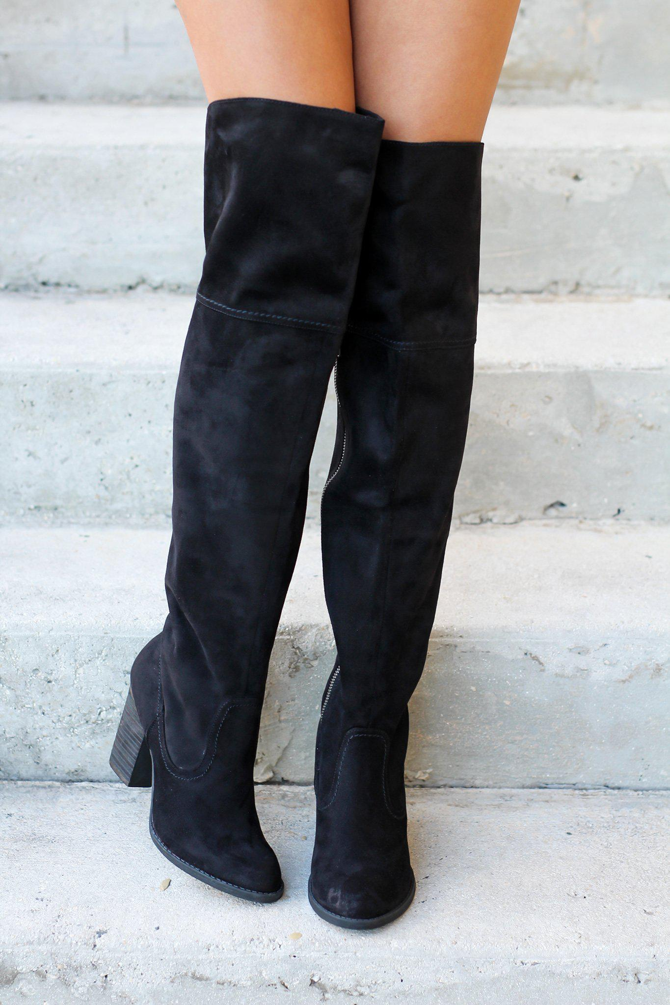 Andra Black Knee High Boots