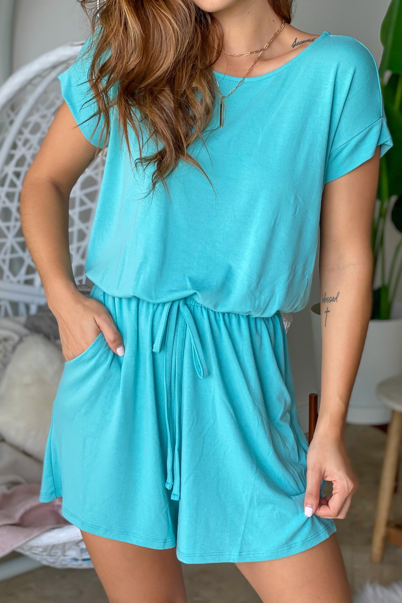 Aqua Tie Waist Romper with Pockets