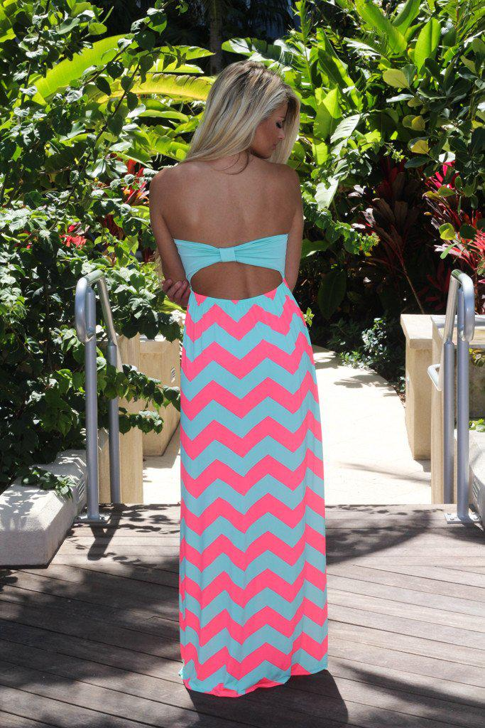Aqua Chevron Maxi Dress With Back Bow