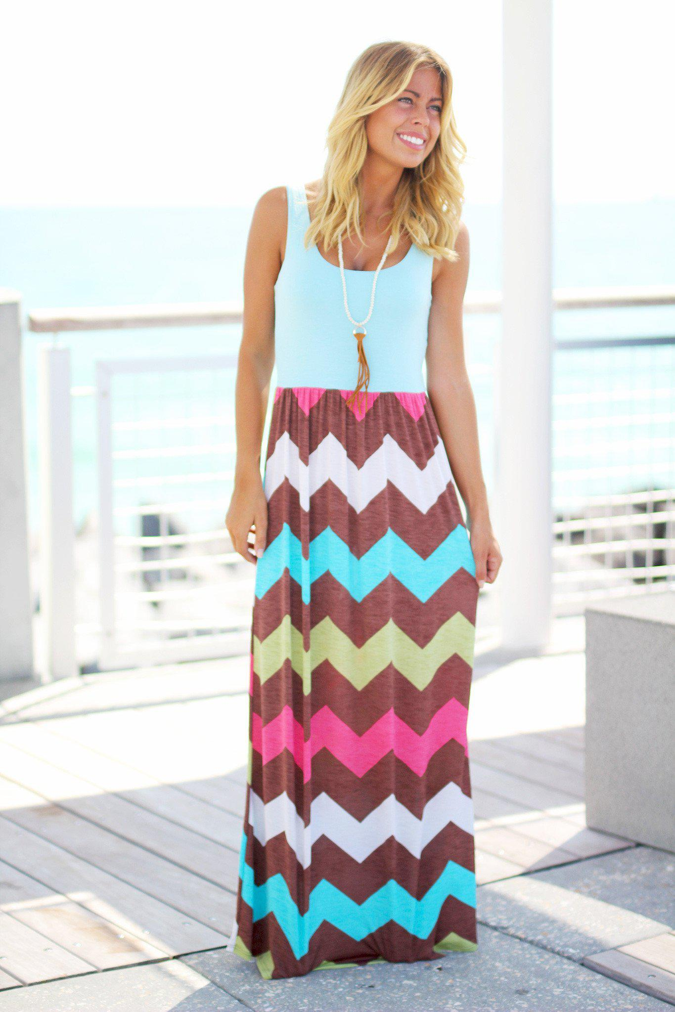 Aqua Multicolor Chevron Maxi Dress