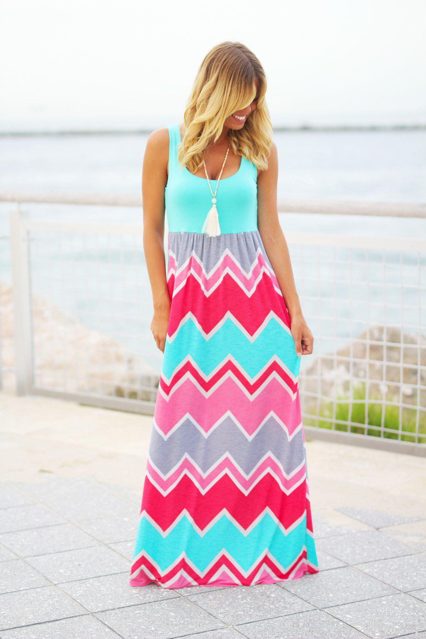 Aqua Chevron Maxi Dress with Pockets