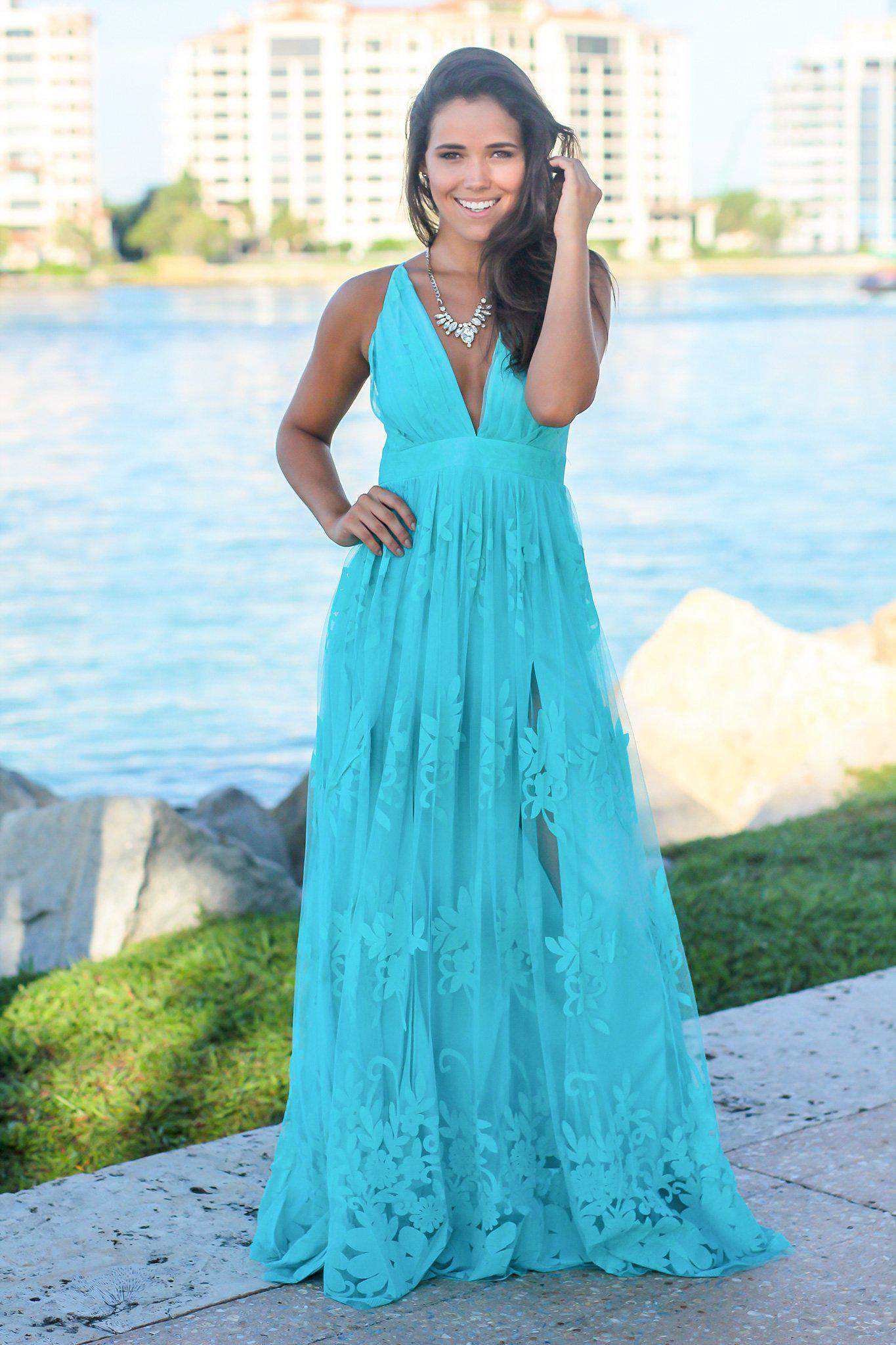 Aqua Floral Tulle Maxi Dress with Criss Cross Back