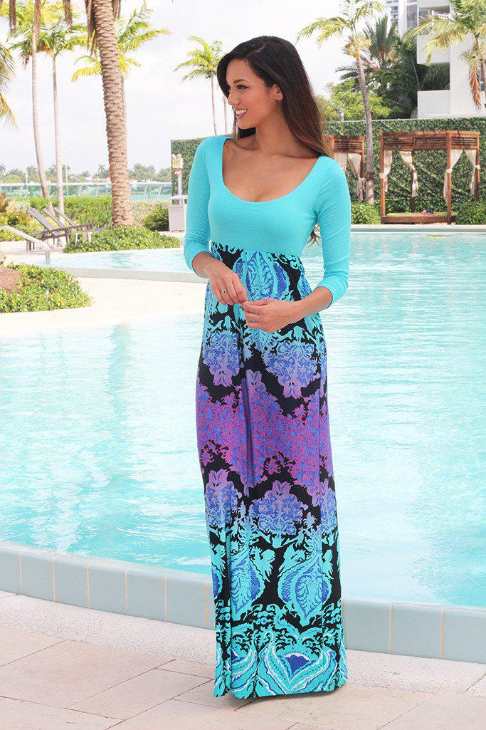 Aqua Maxi Dress With Multi Color Printed Bottom
