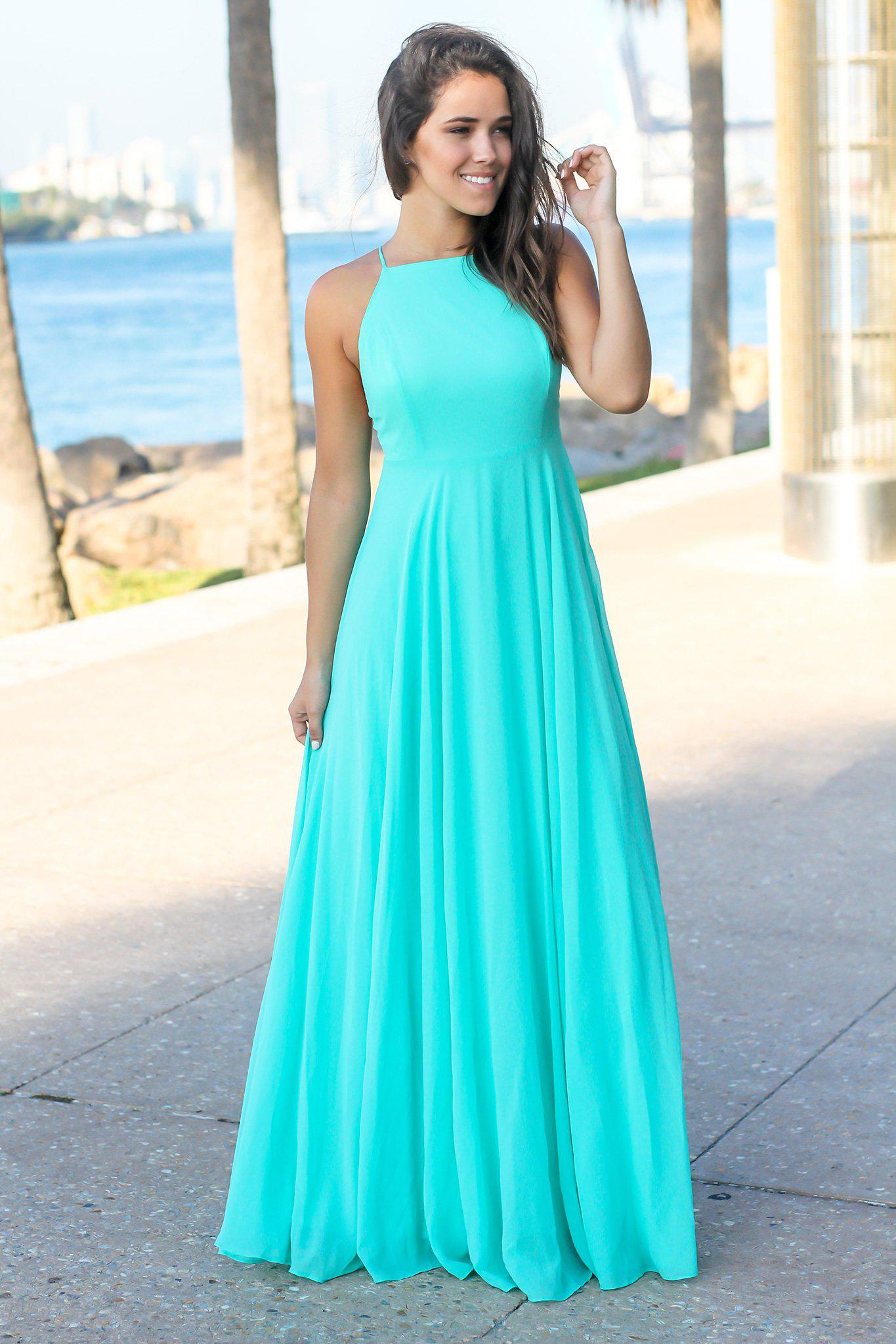 Aqua Maxi Dress with Criss Cross Back