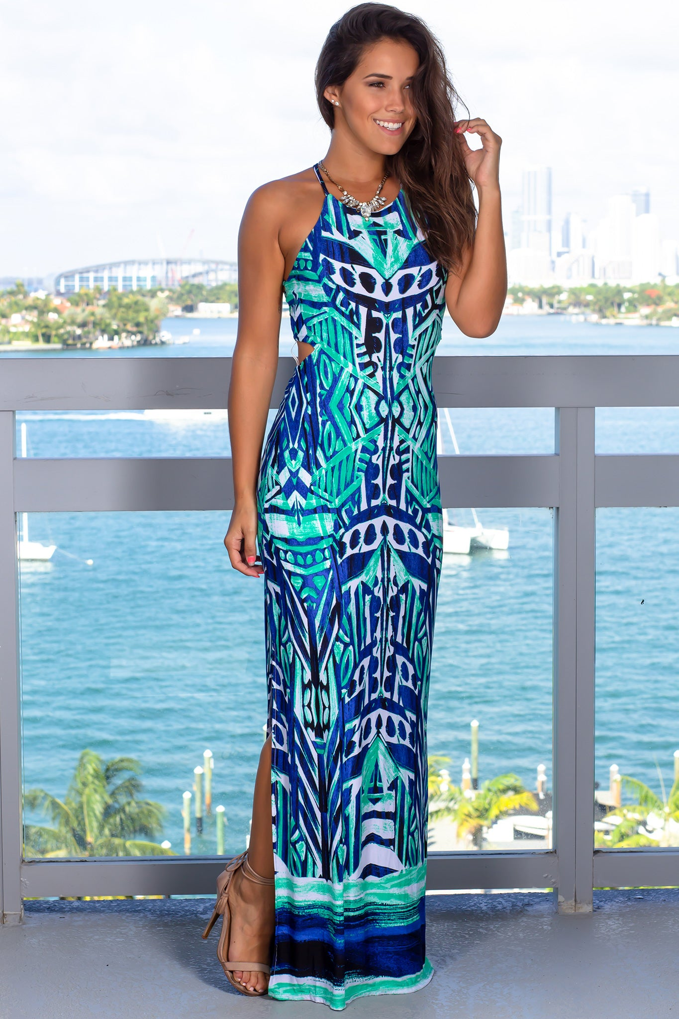 Aqua Printed Maxi Dress with Slits