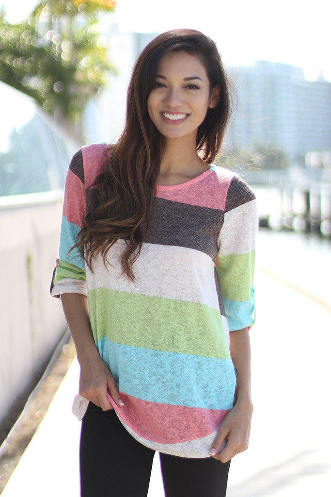 Aqua and Coral Color Block Top With Buttons