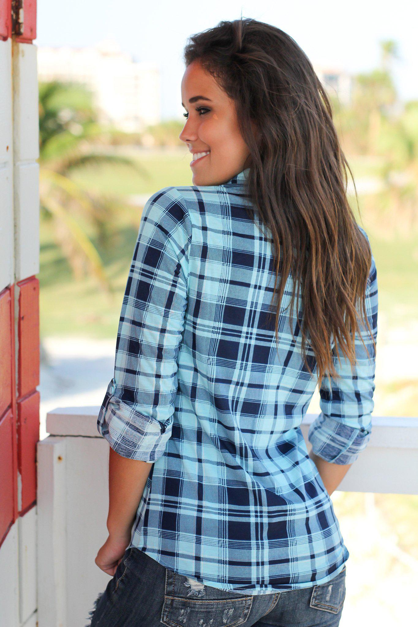 Aqua and Navy Plaid Top