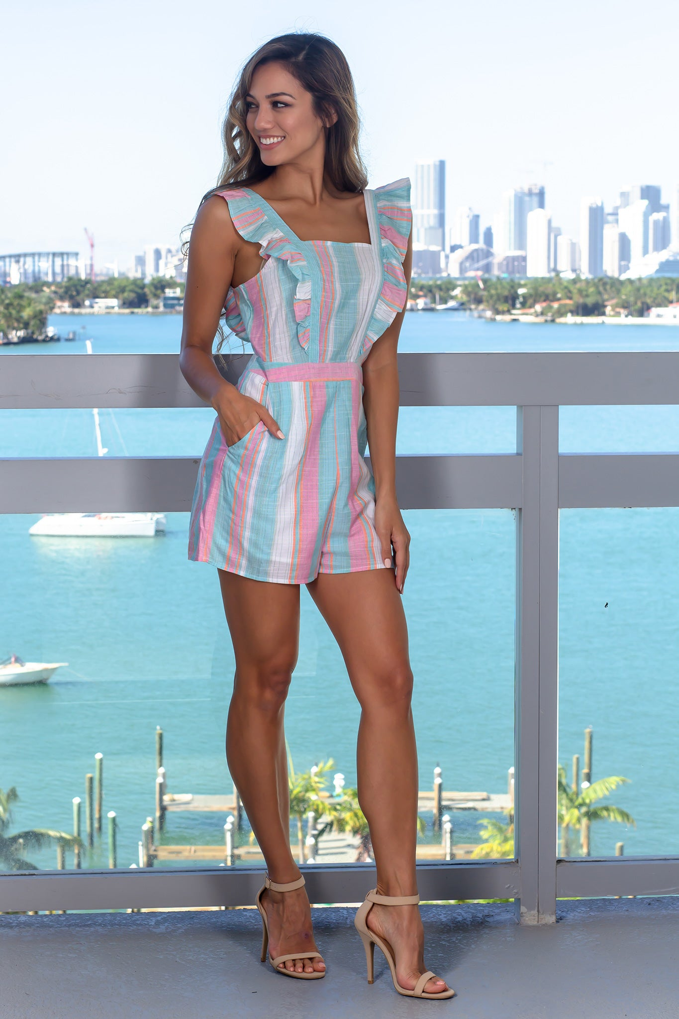 Aqua and Pink Striped Romper
