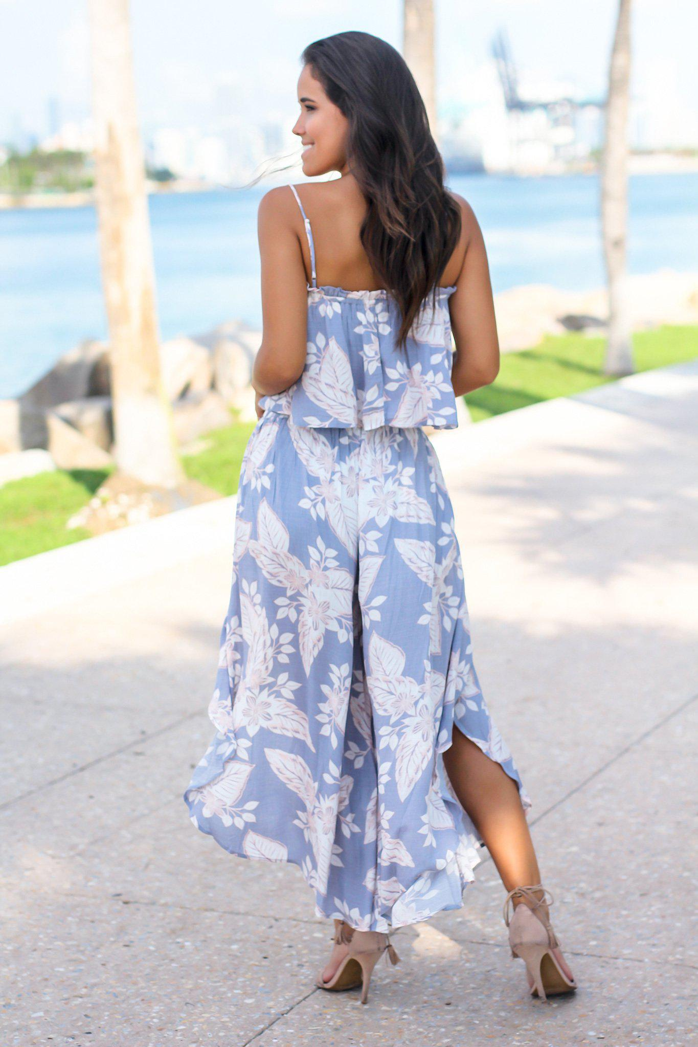 Ash Gray Floral Pants Set