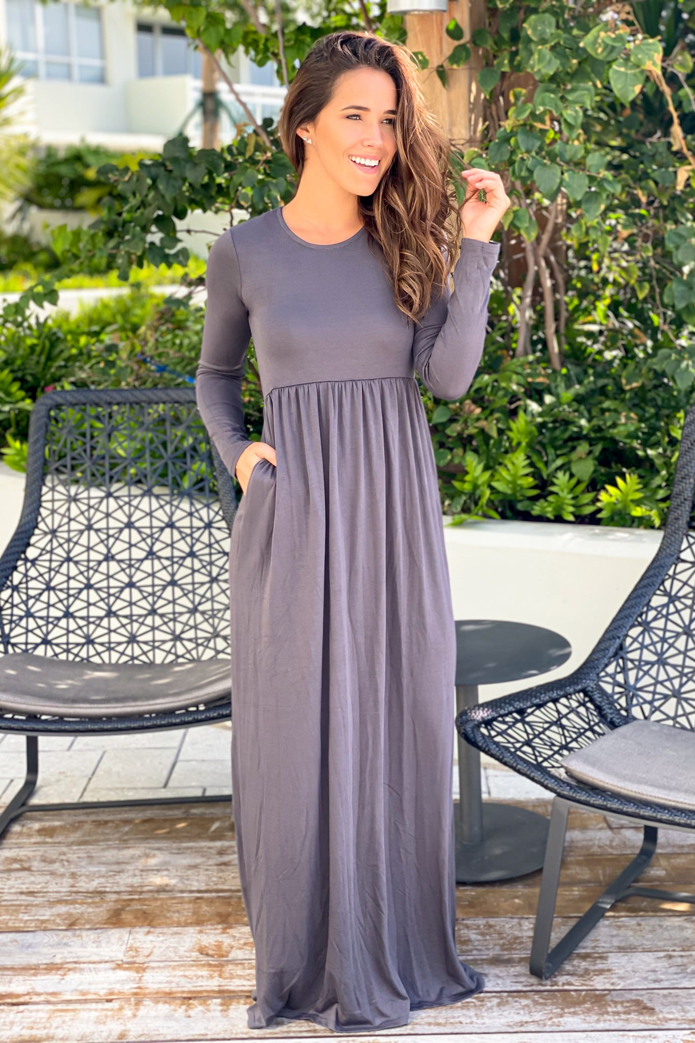 Ash Gray Long Sleeve Maxi Dress