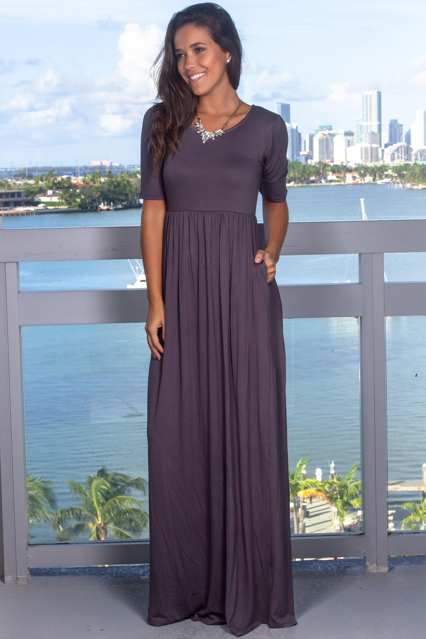 Ash Gray Maxi Dress with 1/2 Sleeves