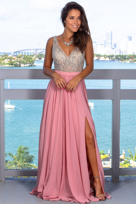 Ash Rose Maxi Dress with Silver Jewels