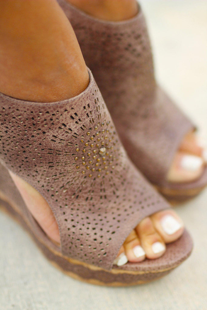 taupe perforated wedges