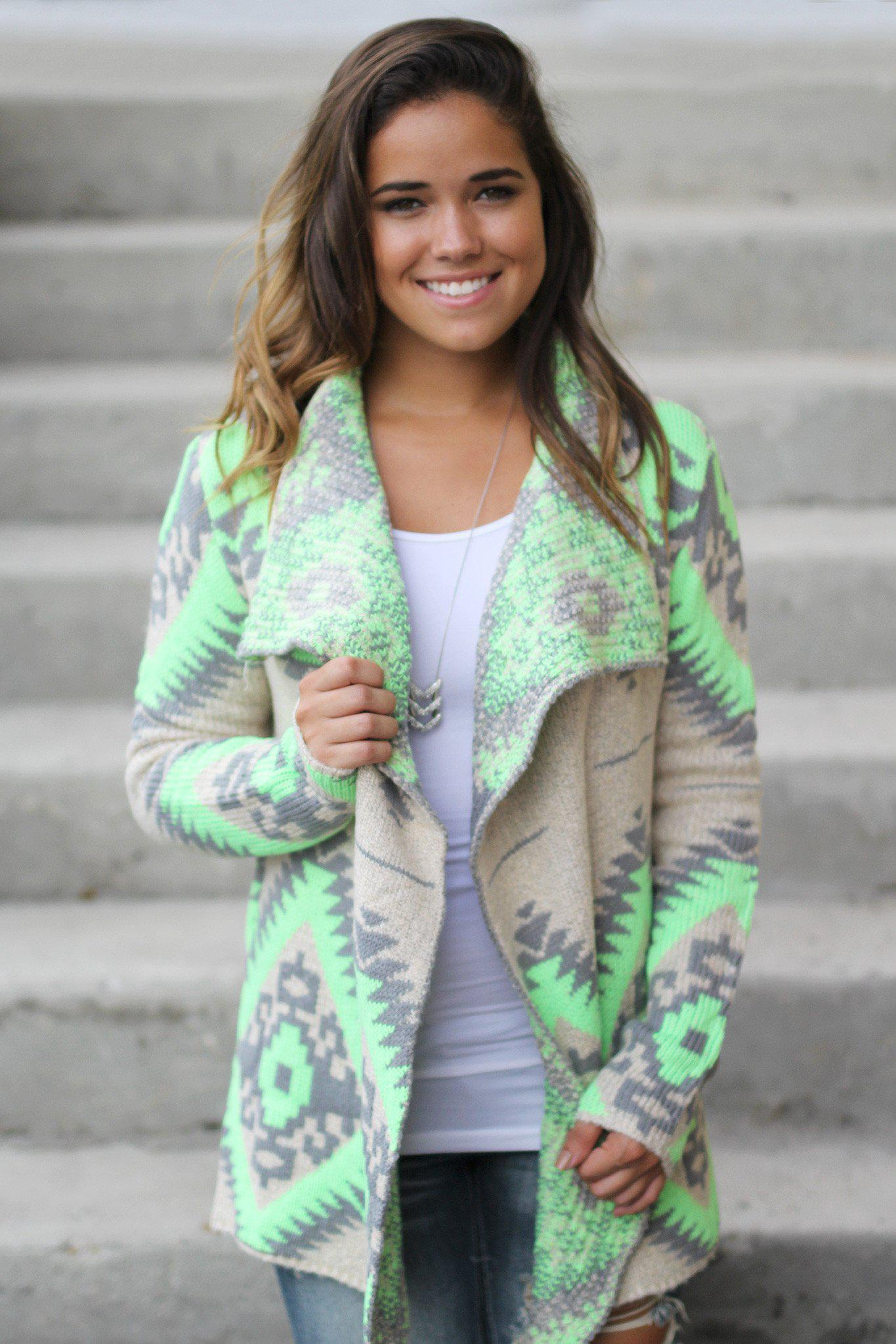 neon lime and gray cardigan