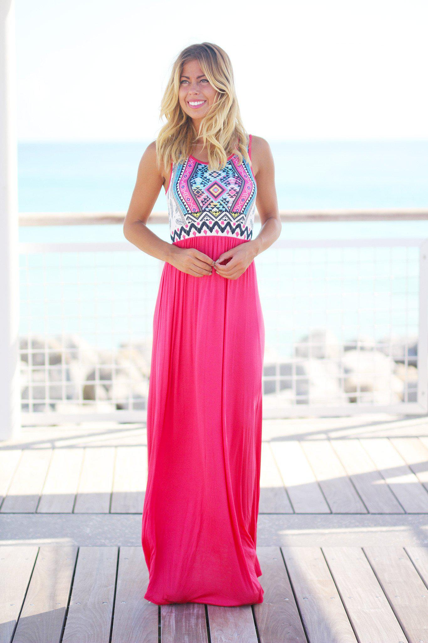 Coral Aztec Maxi Dress | Maxi Dresses – Saved by the Dress