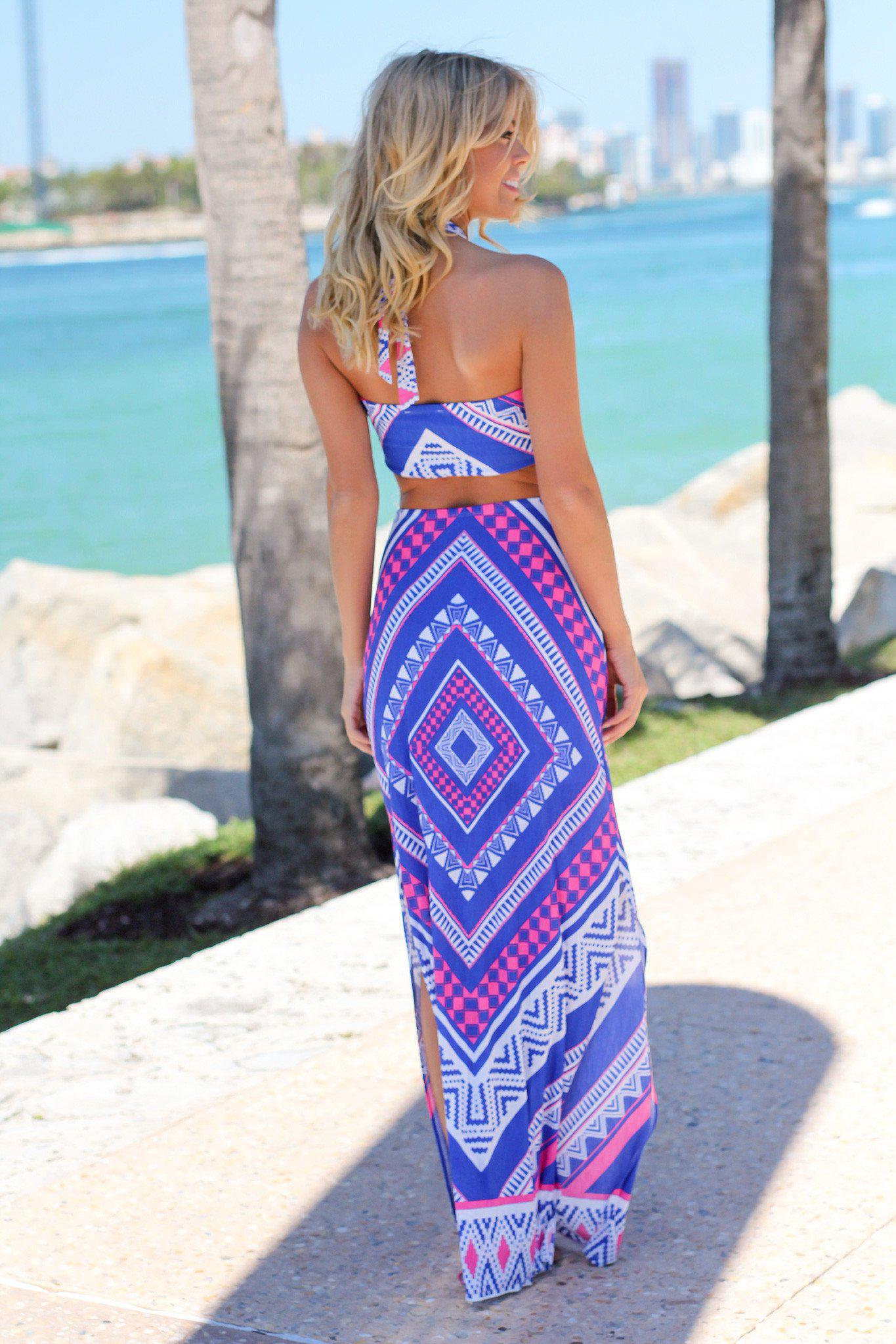 Aztec Print Maxi Dress with Side Slits
