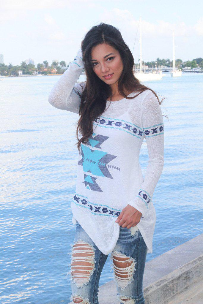 Blue And Navy Aztec Top