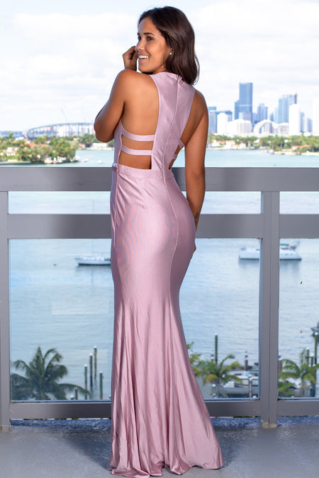 Lavender Maxi Dress with Beaded Belt