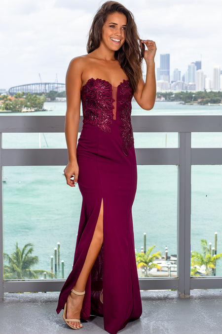 Wine Strapless Embroidered Maxi Dress