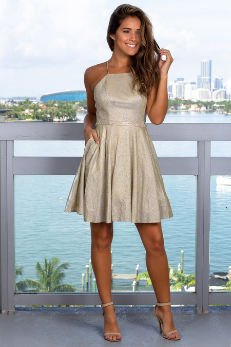 Gold Shimmer Short Dress with Belt
