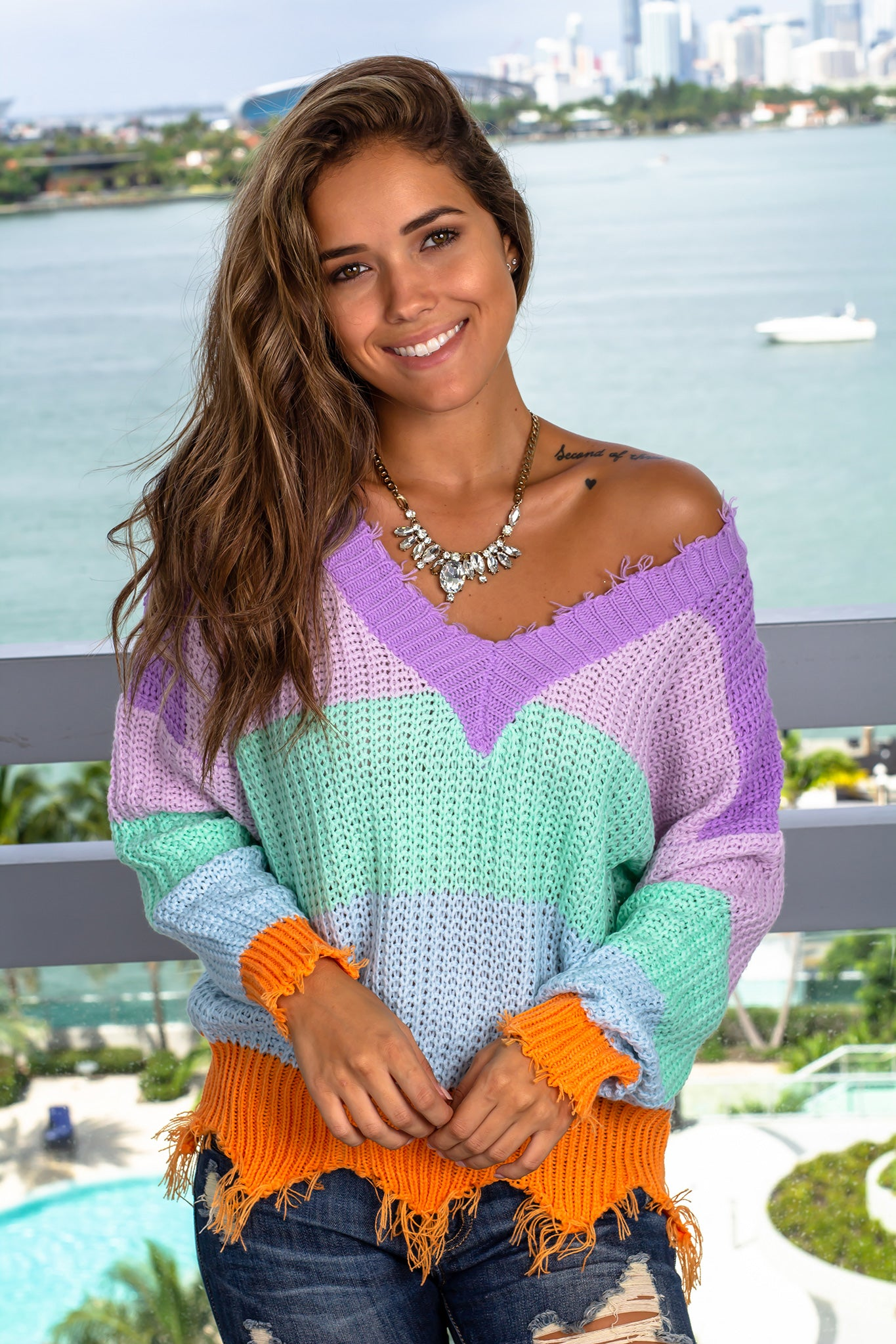 Multi Colored V-Neck Sweater with Frayed Detail