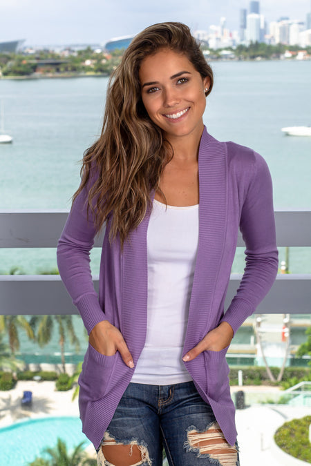 Lilac Open Cardigan