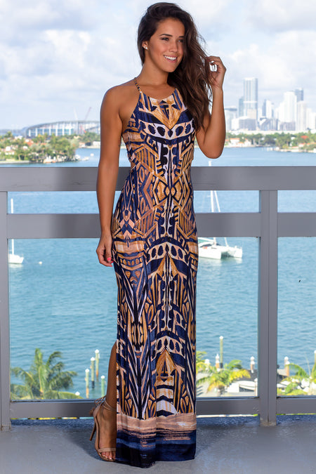 Taupe Printed Maxi Dress