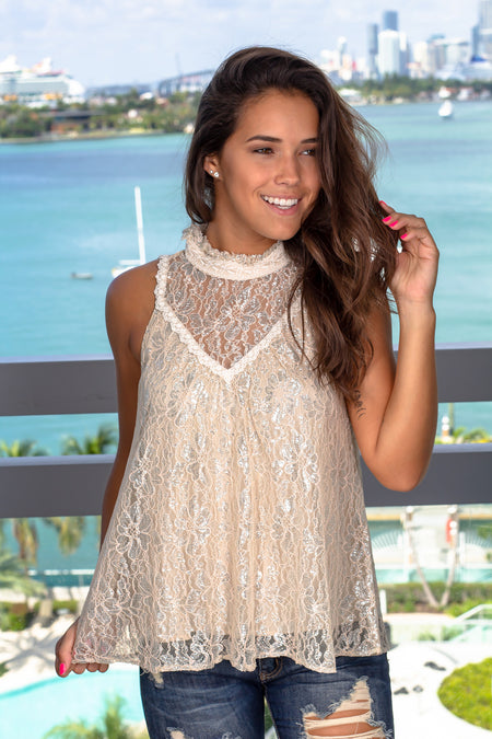 Natural Lace Top with Silver Detail