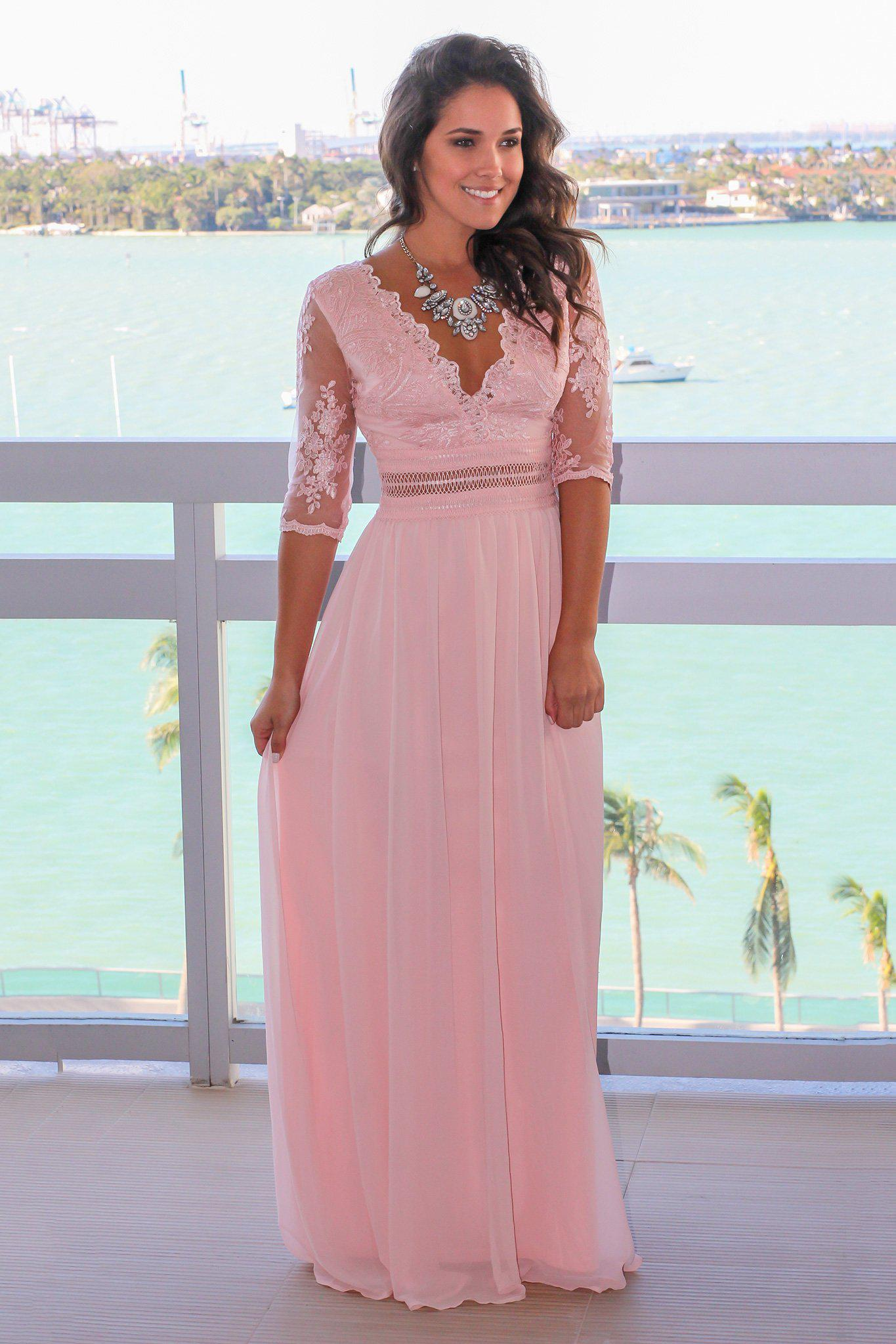 Blush Dresses with Sleeves