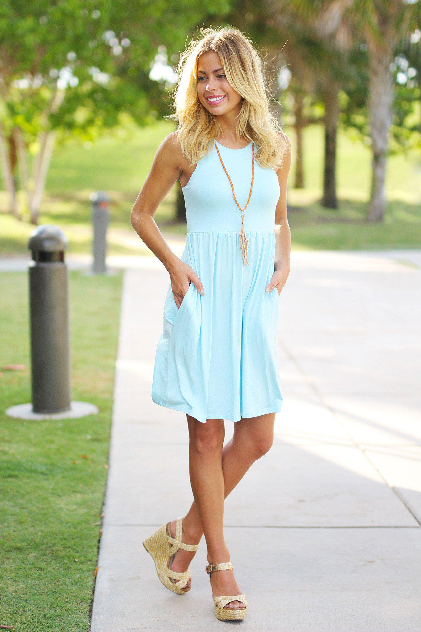 Baby Blue Short Dress With Pockets Baby Blue Summer