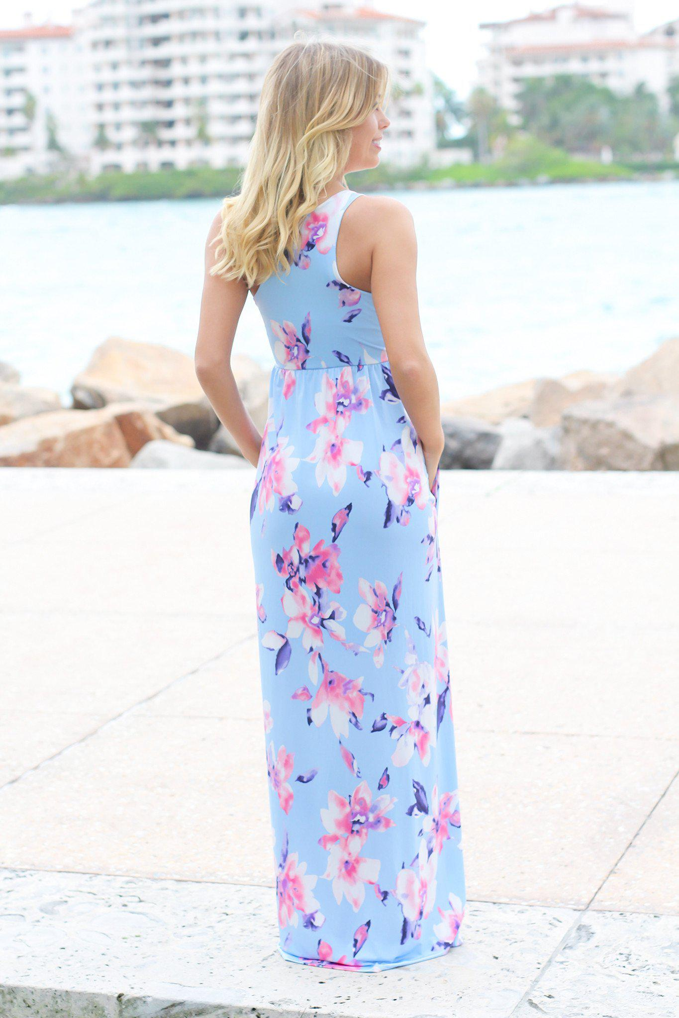 Baby Blue Floral Racerback Maxi Dress