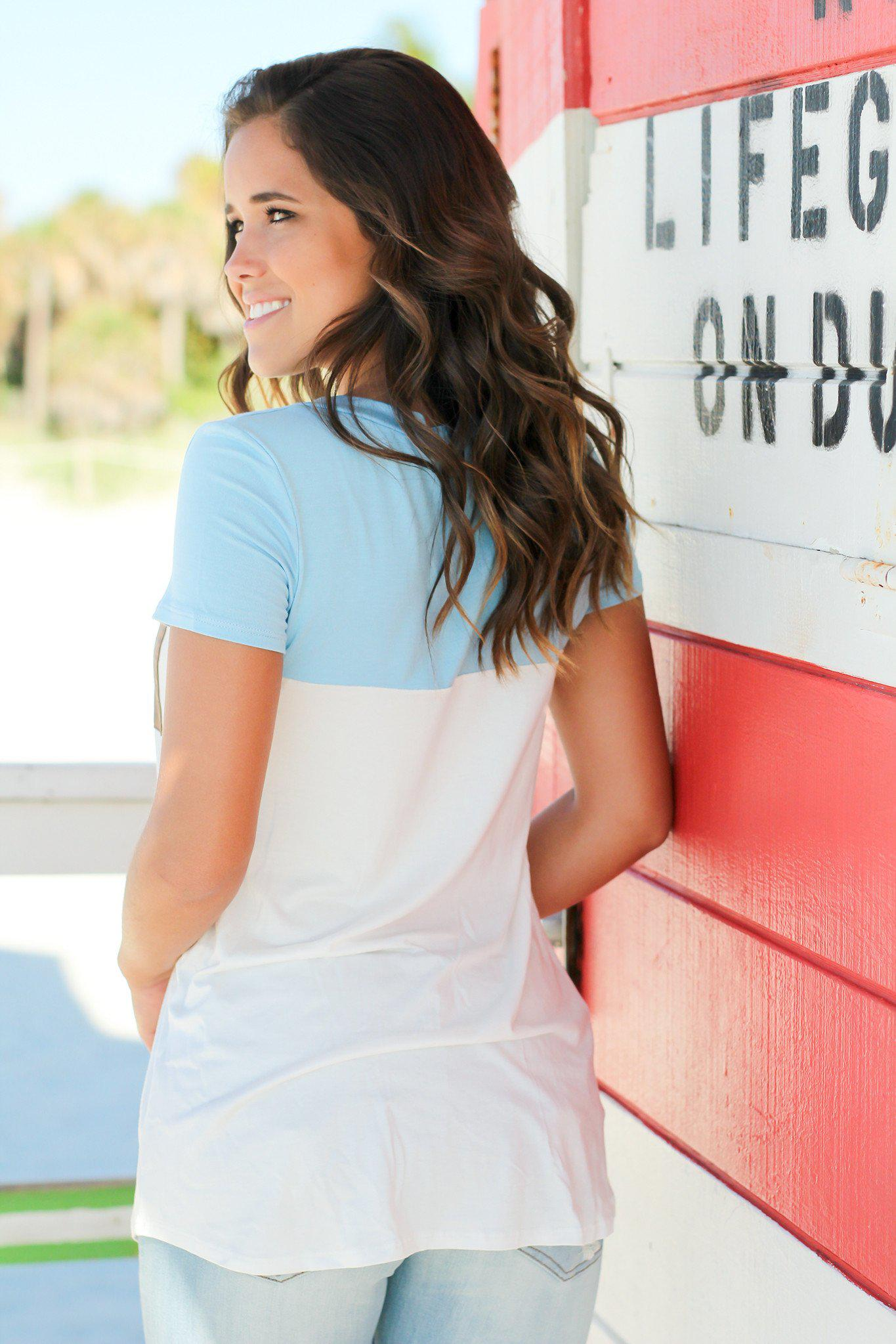 Baby Blue and Ivory Top with Suede Pocket