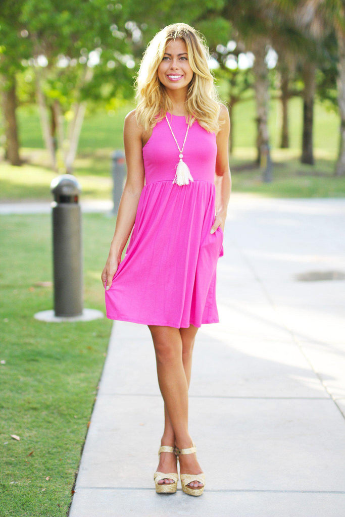 Pink Short Dress with Pockets