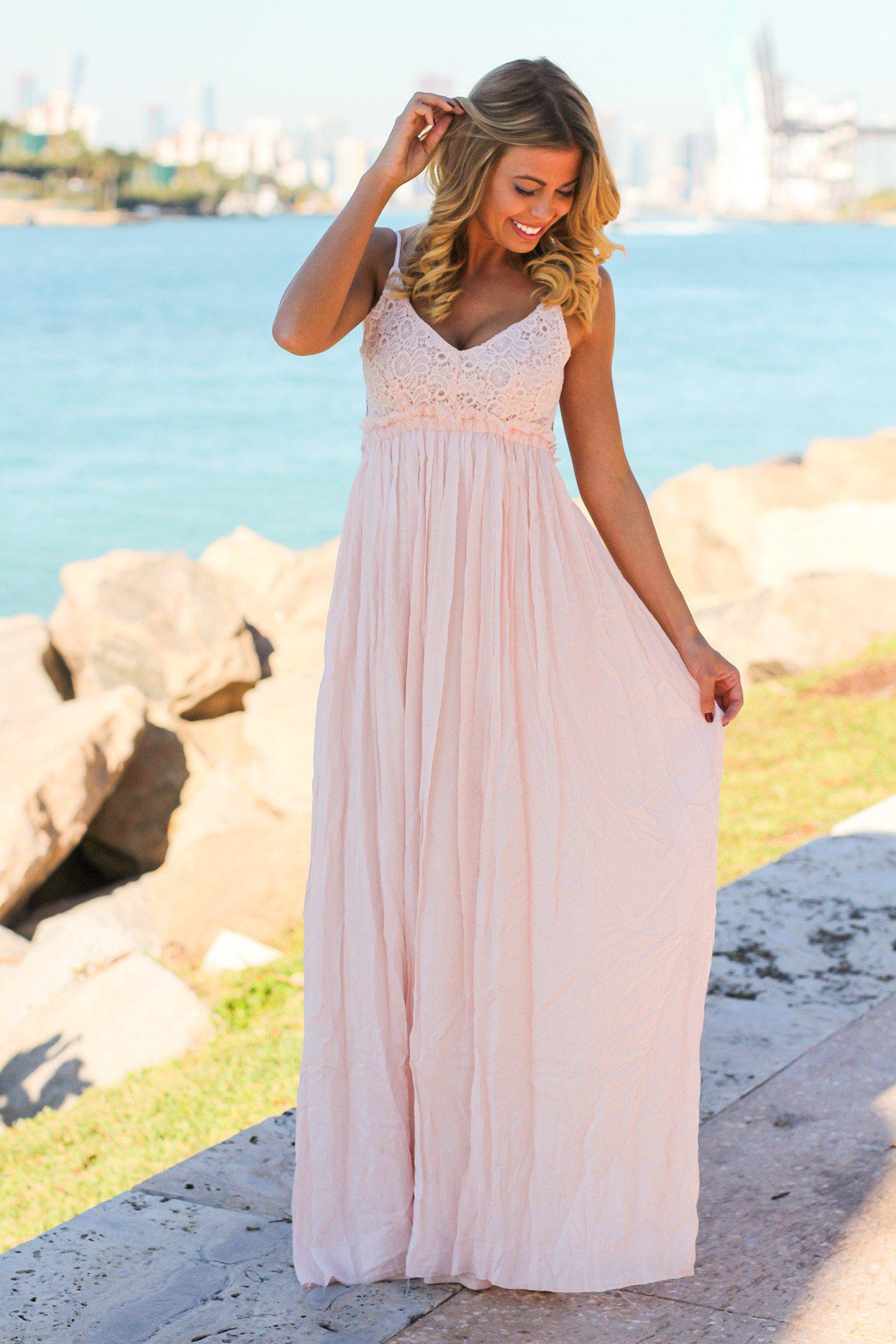 Baby Pink Lace Maxi Dress with Open Back