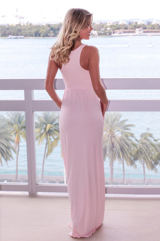Baby Pink Maxi Dress with Pockets