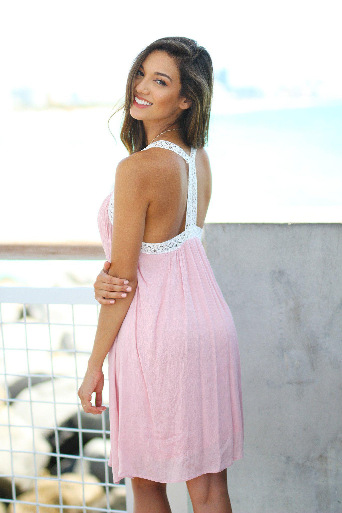 Pink Babydoll Dress with Crochet Trim